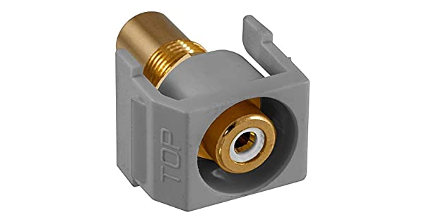 Gray Hubbell Wiring Systems SFRCWRGY Recessed RCA Connector Housing White Insulator