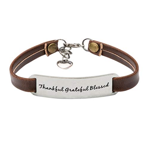 UNQJRY Appreciation Gifts for Women Leather Bracelet Thankful Grateful Blessed -