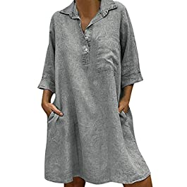 Women's Summer Casual Loose Swing Sleeveless Mini Beachwear Dress Gray