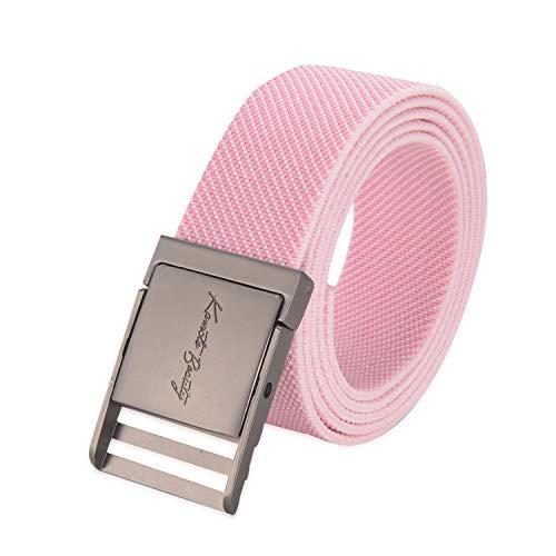 Western Vintage Elastic Belts for Women Designer Adjustable Cute Metal Buckle Plus Size Stretch Nylon Web Men Dress Belt (Pink)