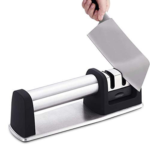 GYY Knife Sharpener 2-Stage Kitchen Knife Sharpener For Repairing, Restoring and Polishing Blades Non-Slip and Ergonomic Design Suitable for All Sizes of Straight Knives