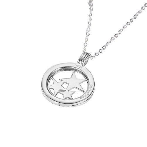 (Epinki Women Pendant Necklace 925 Sterling Silver Star White Chain Length: 40+5 cm)