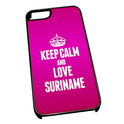 Nero cover per iPhone 5/5S 2286 Pink Keep Calm and Love Suriname