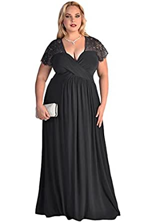 Lalagen Women&39s Lace Sleeve V Neck Plus Size Evening Maxi Dress ...