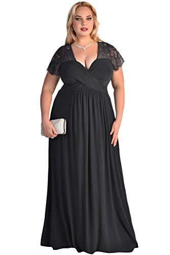 Lalagen Women's Lace Sleeve V Neck Plus Size Evening Maxi Dress Gown Black XXXL