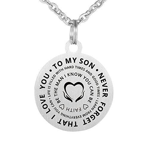 Family Friend to My son Necklace Never Forget Love stainless waterproof chains Birthday Necklace Gift Son (Son(Never Forget))
