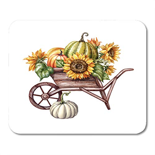 Emvency Mouse Pads Watercolor Pumpkins in The Wheelbarrow Sunflowers Thanksgiving Farm Harvest Halloween Autumn Fall Holiday Mouse pad 9.5