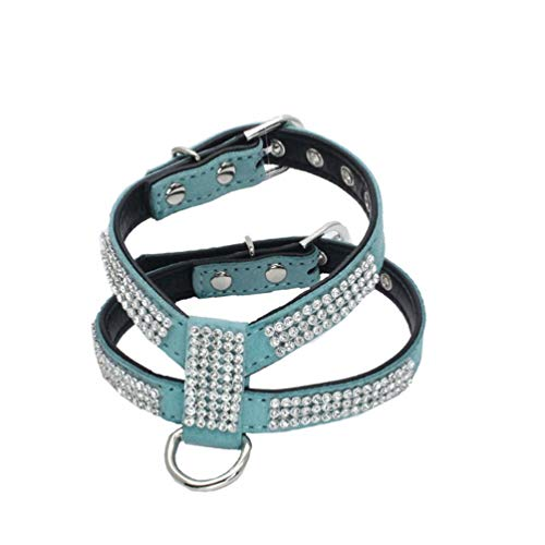 Jim Hugh Fashion Bling Rhinestone Soft Suede Fabric Dog Harness for Small Dog Puppy Cat Black Pink Red Green Rose Purple Blue Yellow Pet Accessories