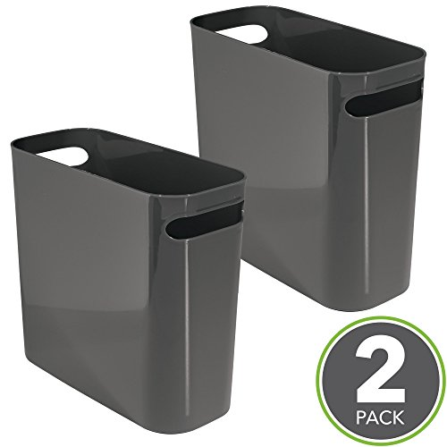 mDesign Slim Rectangular Small Trash Can Wastebasket, Garbage Container Bin with Handles for Bathrooms, Kitchens, Offices, Dorms — 10'' high, Pack of 2, Shatter-Resistant Plastic, Dark Gray Slate by mDesign