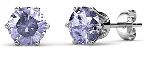 Private Twinkle 18ct White Gold Plated Birthstone stud earrings embellished...