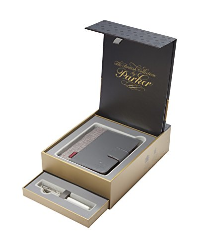 PARKER Sonnet British Collection Fountain Pen Gift Box and Notebook Organizer Set, Metal and Pearl Lacquer CT (1978406)