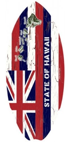 Hawaiian Wood Mini Surfboard Hawaii State Flag 20 inch by 8.5 inch