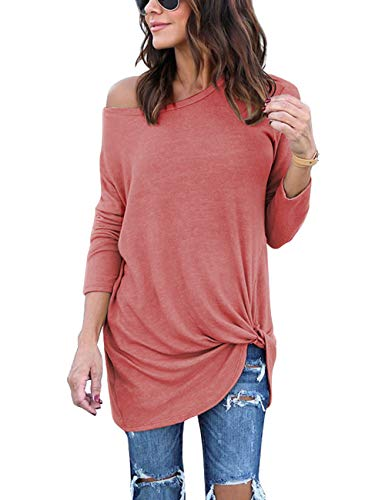 Lookbook Store Women's Casual Soft Long Sleeves Loose Fit Knot Side Twist Knit Blouse Solid Coral Top Shirts Size S 4 ()