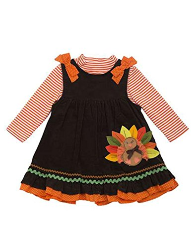 Rare Editions Baby Girls' Brown Leaf Turkey Thanksgiving Corduroy Jumper Dress (24 Months, Brown)