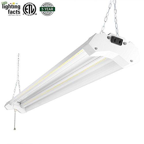 Hykolity 5000K LED Shop Light Linkable, 4FT Daylight 42W LED Ceiling Lights for Garages, Workshops, Basements, Hanging or FlushMount, with Plug and Pull Chain, 3700lm, ETL- 1 Pack