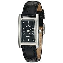 Peugeot Women's 3008BK Silver-Tone Black Leather Strap Watch