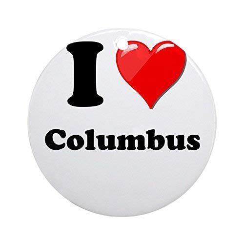 Dozili Christmas Tree Decoration I Heart Love Columbus.Png 3 inch Ceramic Ornaments Merry Gifts (Png Gold Ornament Christmas)