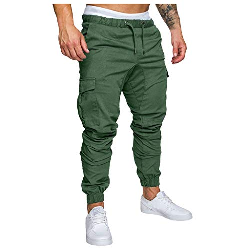 Men Sweatpants Slacks Casual Elastic Joggings Sport Solid Baggy Pockets Trousers, MmNote Green -