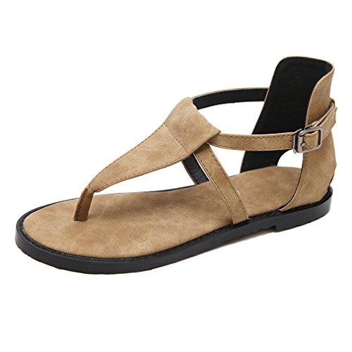 Mujer para Jim el Planos Zapatos Hebilla con Sandalias Marrón para August Tobillo vdY0wtqq