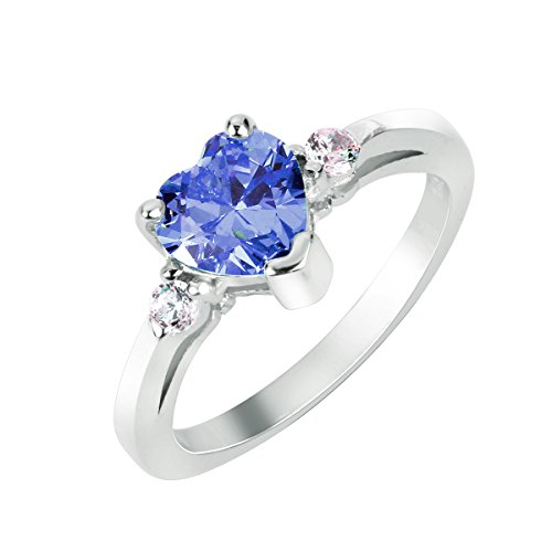 CloseoutWarehouse Simulated Tanzanite Cubic Zirconia Heart Ring Sterling Silver Size 5