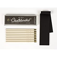 Chalkboard Pencil Set of 8 White Colored Pencils with Notepad American Made by The Pencil Factory