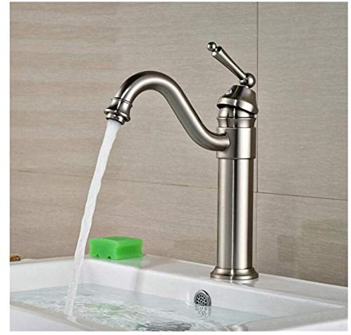 Faucet Lead-Free Square Innovationfaucet Single Handle Brass Brushed Nickel Bathroom Mixers