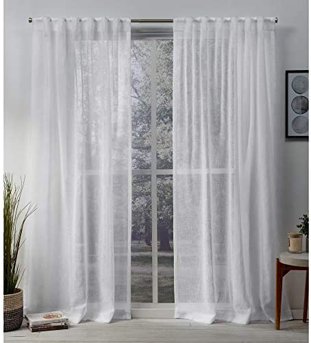 Exclusive Home Curtains Belgian Textured Linen Look Jacquard Sheer Hidden Tab Top Curtain Panel Pair, 50×84, White
