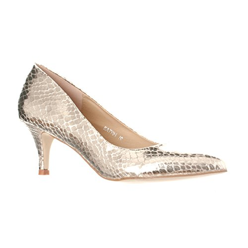 Riverberry Women's Katy Pointed, Closed Toe Low, Kitten Heel Pumps, Gold Snake, 9