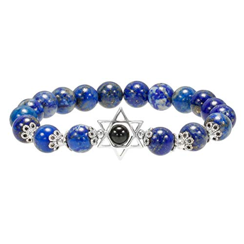 TUMBEELLUWA Beaded Bracelet Star of David Healing Crystal Semi Precious Stone Stretch Bracelet,Lapis Lazuli Stone