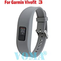 VOMA USA Garmin Vivofit 3 Wristband/Garmin Band/Garmin Vivofit 3 Band/Garmin Wristband/Garmin Bracelet/Garmin replacement band(Gray)