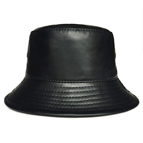 lethmik Bucket Hats Unisex Black Faux Leather Solid Color Bucket Hat ()