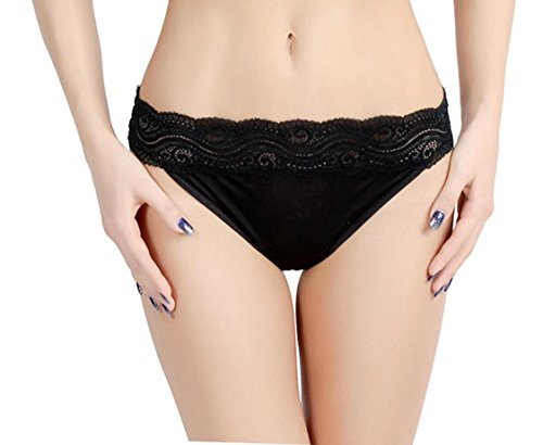 100% Natural Mulberry Silk Low Waist Thong Panties - Size M Black
