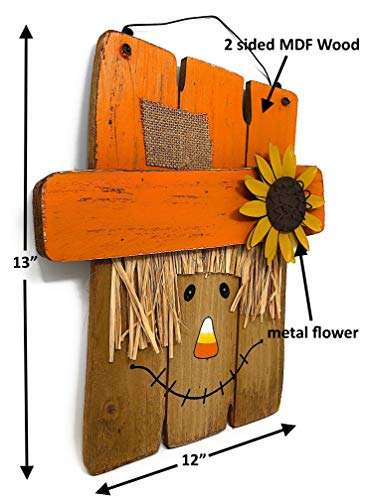 D.I. Inc Halloween Harvest Fall Decoration Wall Front Door Wreath Hanging Wood Decor Indoor Outdoor Interchangeable Double Sides 2 in 1 (13'' x 12'') by D.I. Inc (Image #1)