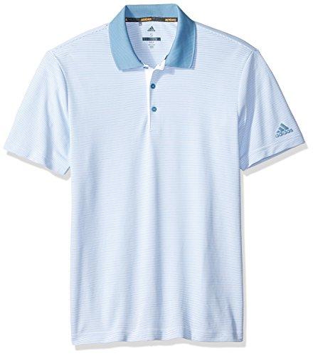 adidas Golf Men's 2-Color Stripe Polo, White/Ash Blue, XX-Large