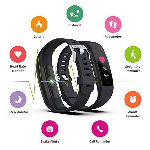 Fitness Tracker HR, Y1 Activity Tracker Watch with Heart Rate Monitor, Pedometer IP67 Waterproof Sleep Monitor Step Counter for Android & iPhone (Midnight Black) by Akuti (Image #1)
