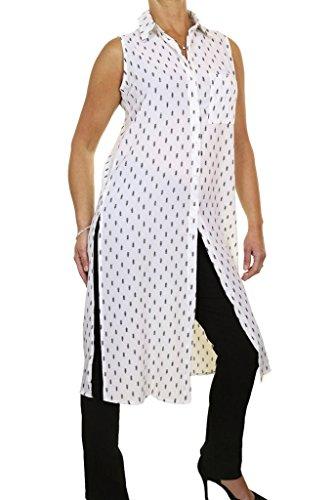 Ice 4072-2 Longline Side Slits Tunic Shirt Georgette Feel Cream Leaf (SM) Side Slit Georgette
