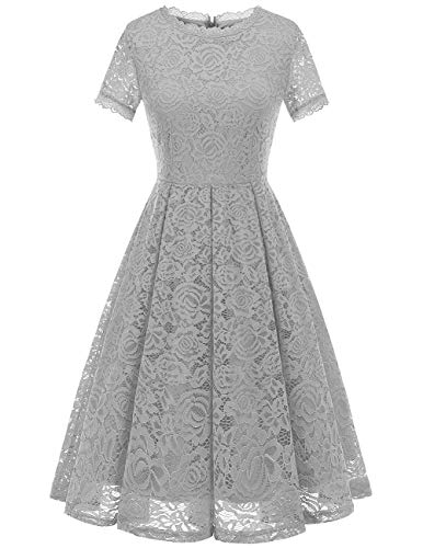 (DRESSTELLS Women's Bridesmaid Vintage Tea Dress Floral Lace Cocktail Formal Swing Dress Silver)