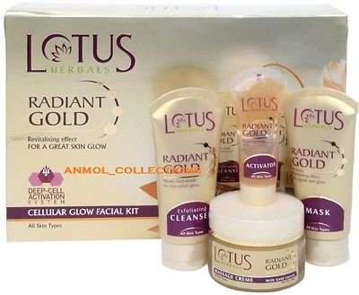 Lotus Radiant Gold Cellular Glow Facial Kit Removes Blemishes, Acne & Tanning