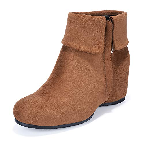 Suede Heels Brown Wedge - IDIFU Women's Candice-V Fold Over Round Toe Ankle Booties Hidden Medium Wedge Heel Side Zipper Faux Suede Short Boots (11 M US, Brown Suede)