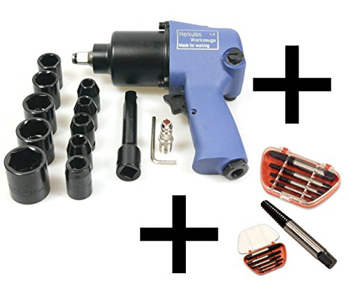 Clé à choc pneumatiques 1/2' 550 Nm avec 10 douilles + 5 extracteurs de vis Otger Lensker