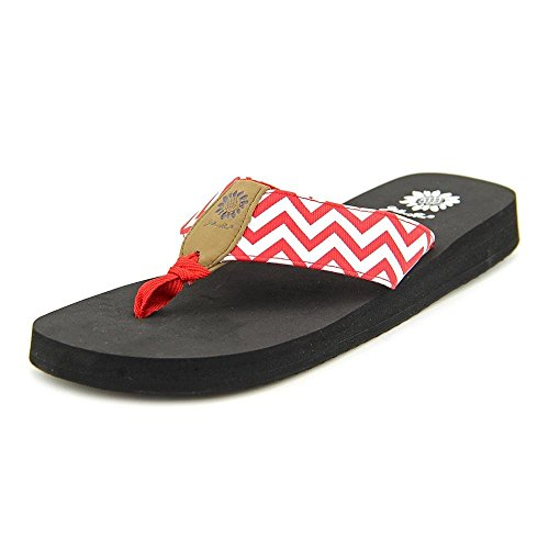 Yellow Box Women's Yulisa Chevron Thong EVA Sandals Shoes Red Size 7 (Red Shoes Box)