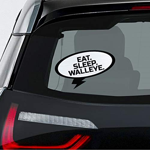 EAT SLEEP WALLEYE Fish Fishing Car Laptop Wall Sticker Decal - 3.5'by6'(Small) or 5'by9'(Large) (Replica Fish Walleye)