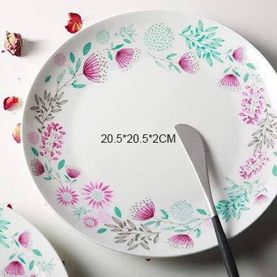 Funnmart Dinnerware ボーンチャイナプレートディッシュ オングレイズ フローラルフラワープリント ラウンドプレート ステーキケーキ ホワイトディッシュ 全価格   B07MZWK3V4