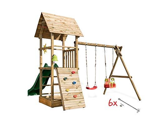 Scheffer Outdoor-Toys Spielturm Alex 4 mit Doppelschaukel, Sandkasten,Kletterwand, Sicherheit wählen 6X Bodenanker, Rutsche wählen moosgrüne Rutsche