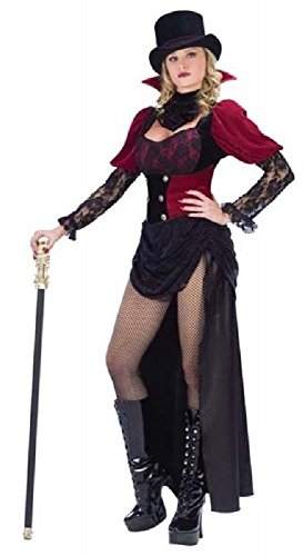 Ladies Sexy Burlesque Victorian Vampiress Vampire Halloween Fancy Dress Costume Outfit UK 10-12 (UK 10-12) Black