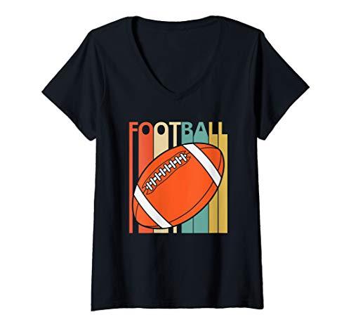 Womens Vintage Football Sport shirt - Football Player Gift V-Neck T-Shirt]()