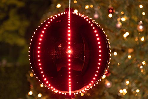 Alpine Corporation Hanging Christmas Ball Ornament with Chasing LED Lights, Plug-in Festive Indoor Holiday Décor, Red