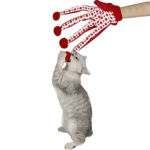 Pawz Road Haustier Spielzeug Clown Scratching Handschuhe Rot-Weiss