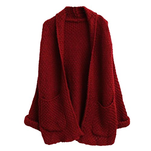 Menglihua Womens Oversized Knit Loose Pocket Open Front Sweater Outwear Coat Cardigan Wine Red