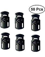 Heallily 50 piezas de tapón de resorte de plástico de un solo orificio para cable de alta resistencia tope de palanca cierre deslizante extremo de bloqueo para cordón paracord